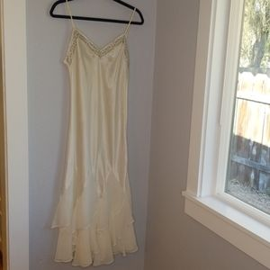 Delicates ivory satin spaghetti strap nightgown